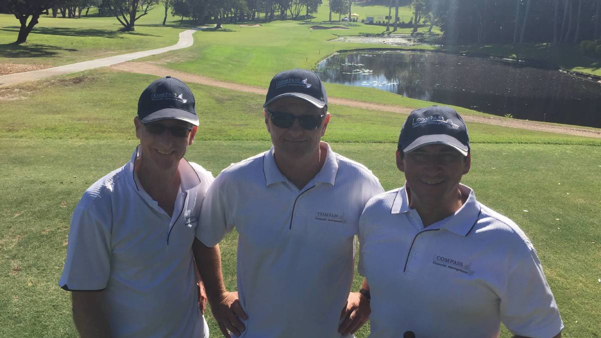 Flashback: On course: Michael Clarke, Robert de Lepervanche and Warrick Affleck enjoying their round of golf at the Westpac Rescue Helicopter Service fundraising golf day in 2018.