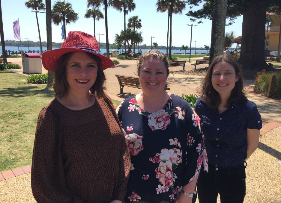 Let's talk: ABC TV presenter Anne Edmonds, Port Macquarie's Kara Nicholson and Melina Wicks following filming of the Australia Talks segment in Port Macquarie on Wednesday.