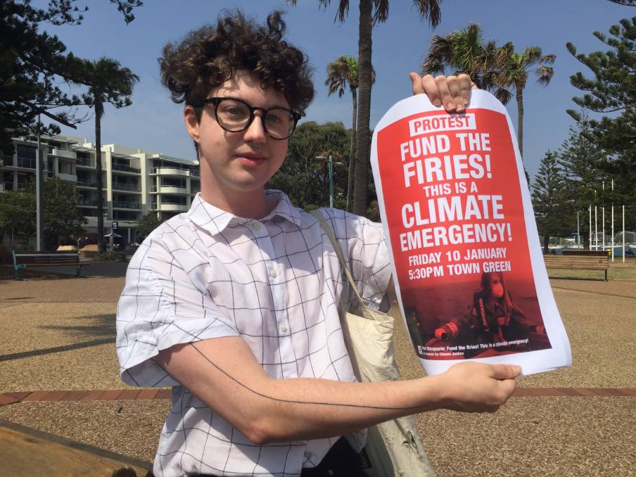 Supporting firies: Elliot Downes is organising a protest for Friday January 10 on the Port Macquarie Town Green.