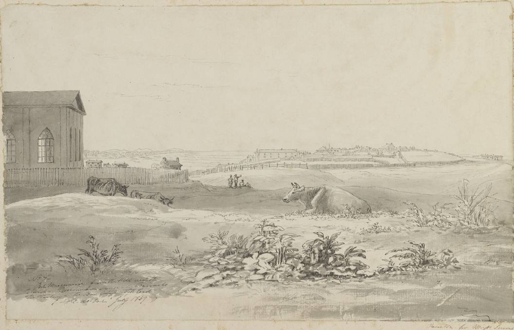 Church on a hill: Port Macquarie from the Hill near the Church, 1839 by H.C. Allport. Supplied by State Library of New South Wales.