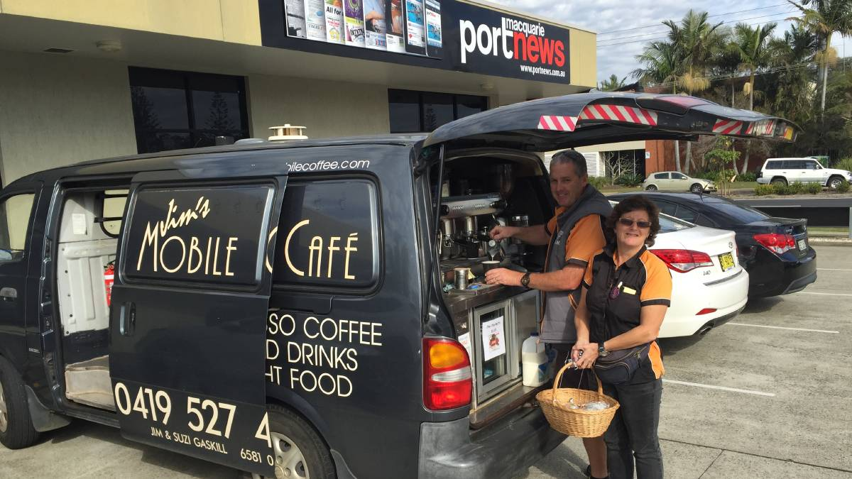 DAILY DELIGHTS: Jim and Suzi Gaskill celebrated the 10th birthday of their mobile coffee van business on Tuesday with some free sweet treats for their 'regulars'. No one wears the Greater Western Sydney  AFL colours with more pride than these two Port Macquarie gems.