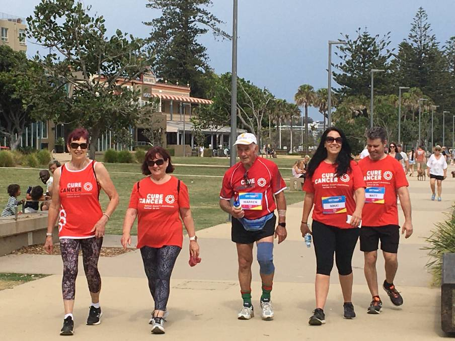 Virtual race: Completing this year's City2Surf in Port Macquarie were Rita Saunders, Coleen Turner, Warren Turner, Cure Cancer CEO Nikki Kinloch and Matthew Hunt.