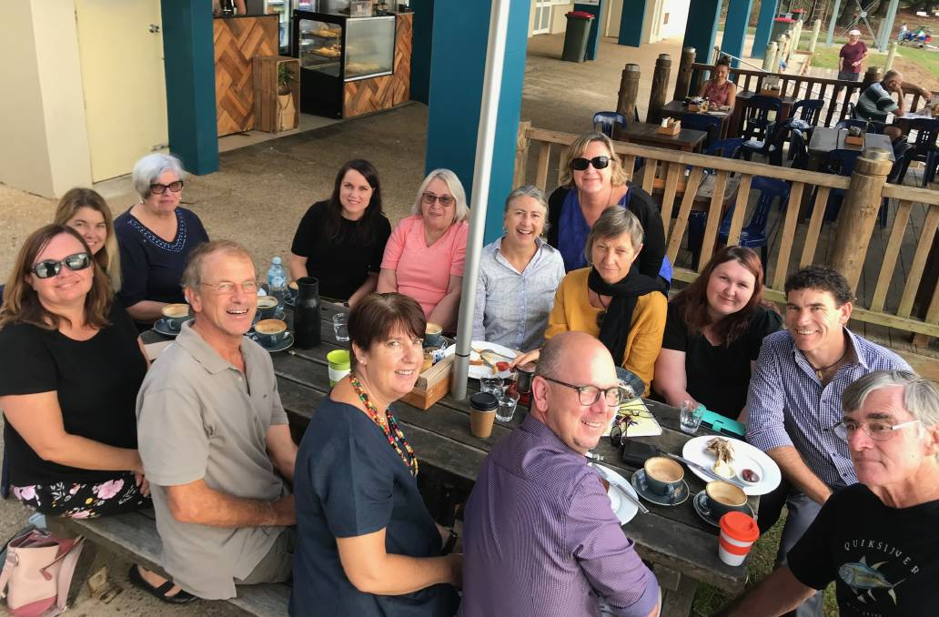 : Social workers from across the Hastings celebrate World Social Work Day with breakfast at Flynns Beach in Port Macquarie.