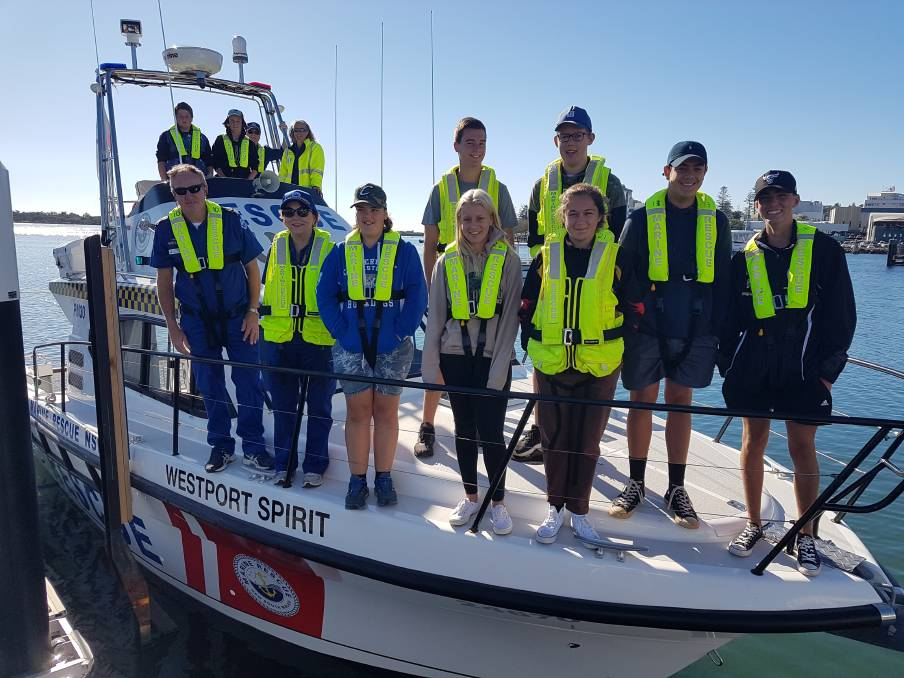 Westport Spirit: Local high school students casting off to undertake training with Marine Rescue Port Macquarie.