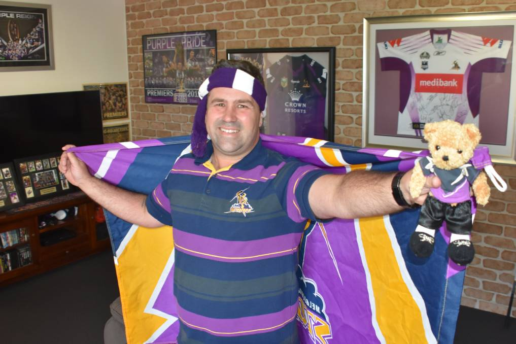 PURPLE PRIDE: Melbourne Storm super-fan Greg Boath in his Port Macquarie mancave.
