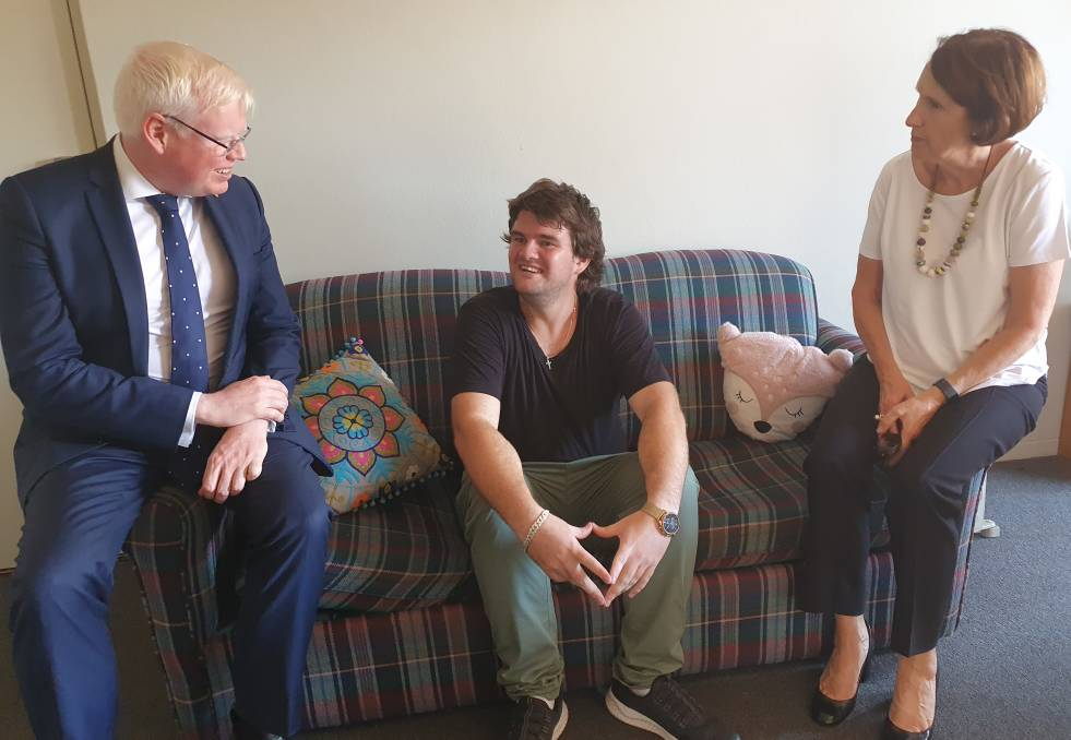 Life-changing: Minister for Families, Communities and Disability Services Gareth Ward, Jamie Van Haren and Port Macquarie MP Leslie Williams talk about the success of the Together Home program.